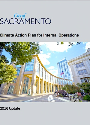 Cover page of a City climate action plan. Graphic.