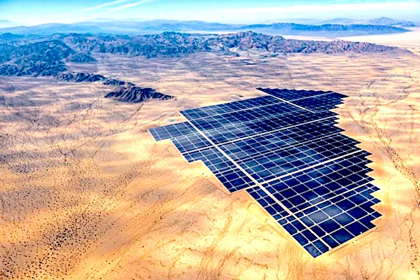 Aerial photo of Desert Sunlight Solar Farm and the surrounding Mojave Desert