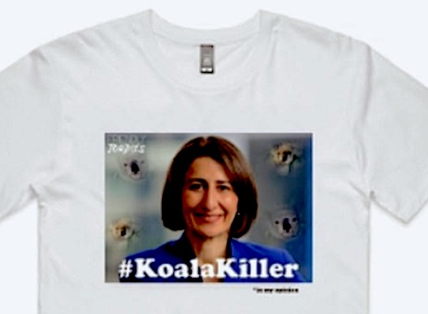 A white T-shirt with a picture of a woman and the hashtag Koala Killer. photo