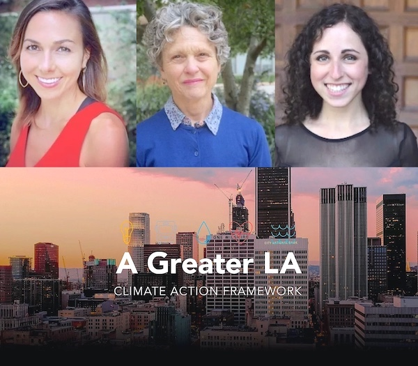 Cover of Greater LA's new climate Action Framework with pictures of the group's leaders