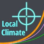 LocalClimate.org's avatar shows a crosshairs to signify a specific location, and three graphed curved signifying three possible future climate scenarios