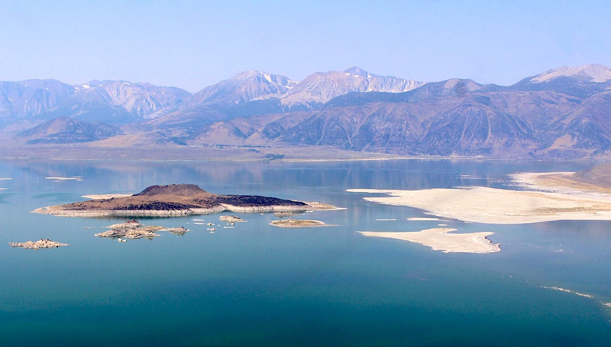 Aerial view of Mono Lake at the foot of the Sierra Mountains. photo