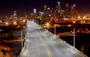 LA's 415 freeway at night with its streetlights casting a a natural-looking light