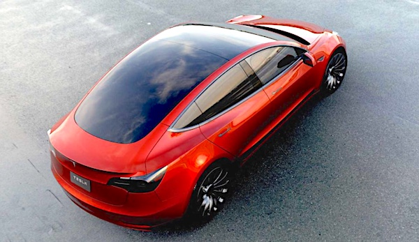 A view from above the Tesla Model 3 where you can see the whole top of the car is made of solar glass.