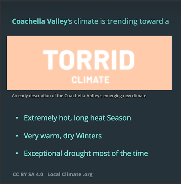 These are three attributes of Coachella Valley's coming Torrid climate. Graphic.