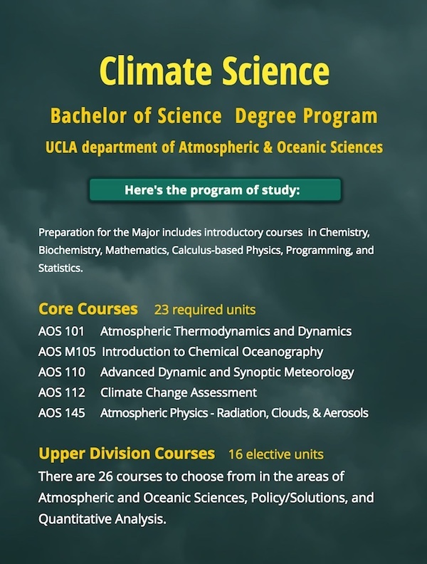 List of core and elected courses in climate science. graphic.