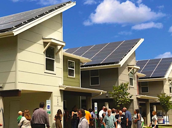 These are new homes in LA, required by local ordinance (2025) that are 50% energy self-sufficient.